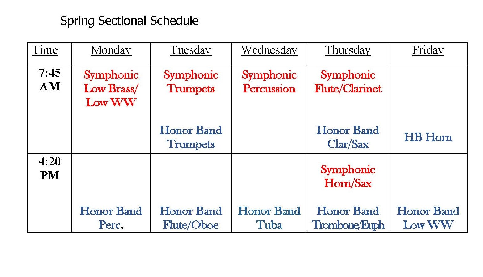 Spring Sectional Schedule